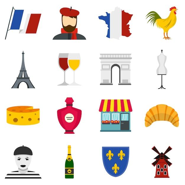 Conjunto de viagens frança definir ícones planas Vetor Premium