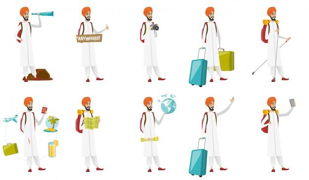 Conjunto de viajante muçulmano Vetor Premium