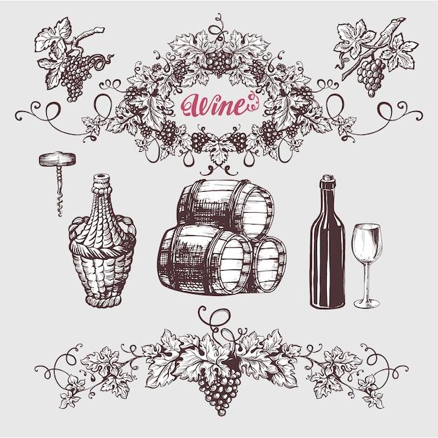 Conjunto de vinho e vinificação vintage. Vetor Premium