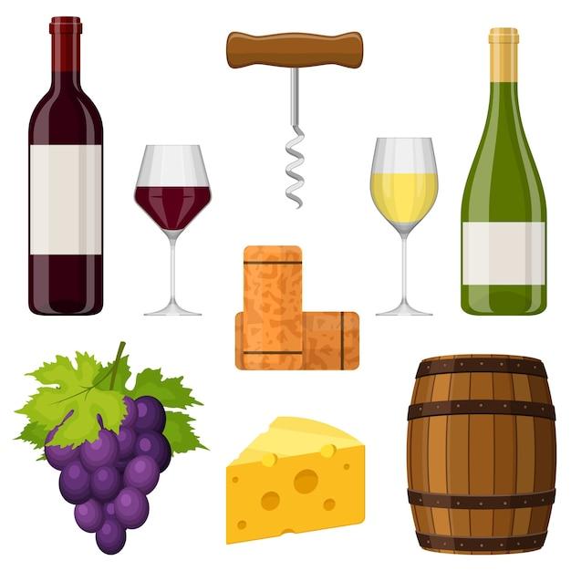 Conjunto de vinho. garrafa de vinho, copo de vinho, queijo, saca-rolhas, rolha, uva e barril. Vetor Premium