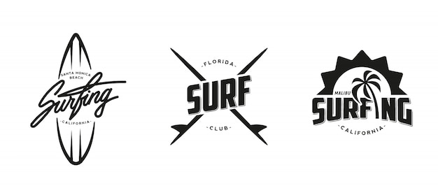 Conjunto de vintage surf gráficos, logotipos, etiquetas e emblemas. Vetor Premium