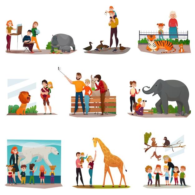 Conjunto de visitantes do zoológico Vetor grátis