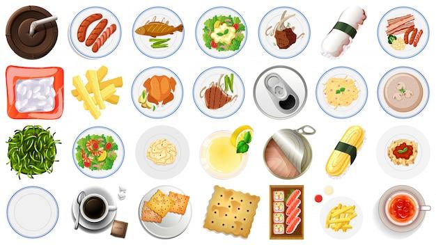 Conjunto de vista aérea de comida Vetor grátis