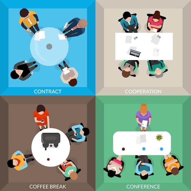 Conjunto de vista superior de comunicações de negócios Vetor grátis