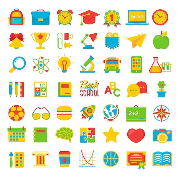 Conjunto de volta para escola e educação colot plana ícones material escolar Vetor Premium