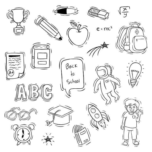 Conjunto de volta para objetos de escola com estilo doodle ou desenho Vetor Premium