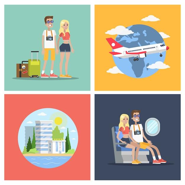 Conjunto de voo turístico. casal viajando de avião. Vetor Premium