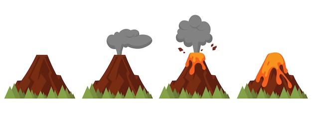 Conjunto de vulcões de diferentes graus de erupção. ilustração do estilo simples com objetos isolados. Vetor Premium