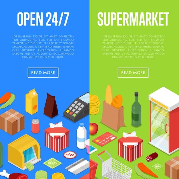 Conjunto de web de banner isométrica aberto 24/7 supermercado compras Vetor Premium