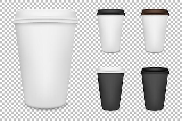 Conjunto de xícara de café de papel em branco realista. . Vetor Premium