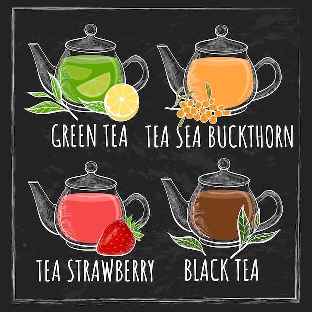 Conjunto de xícara de chá. chá diferente com texto no fundo do quadro-negro. Vetor Premium