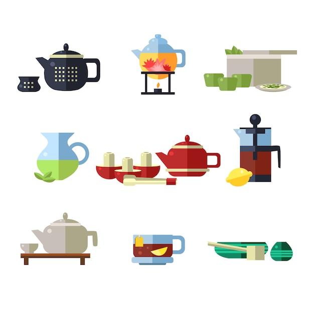 Conjunto de xícara de chá e chaleira Vetor Premium