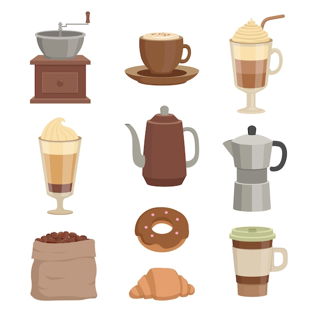 Conjunto de xícaras de café e recipientes para a hora do café Vetor Premium