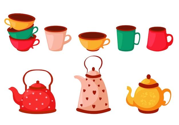 Conjunto de xícaras de chá coloridas, xícaras de café e chaleiras. conjunto de pratos. Vetor Premium