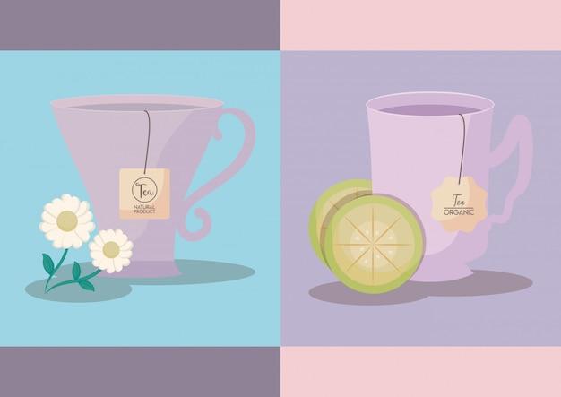 Conjunto de xícaras de chá de limão e camomila Vetor Premium