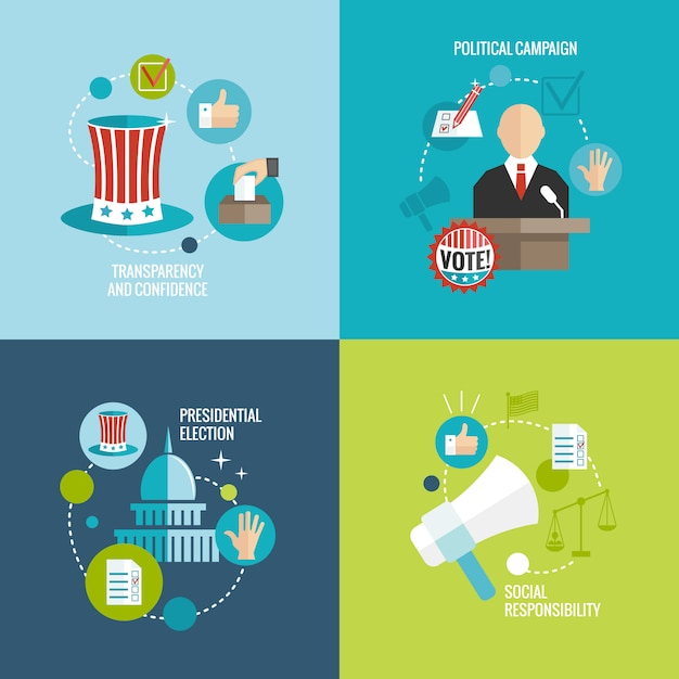 Conjunto decorativo plano de elementos de eleições Vetor grátis