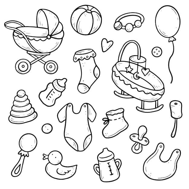 Conjunto desenhado à mão de elementos de chuveiro Vetor Premium