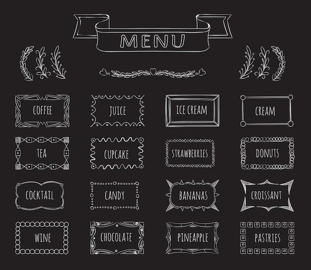 Conjunto desenhado à mão do menu do quadro-negro do café. café e suco, sorvete e chá, café com menu, ilustração Vetor Premium