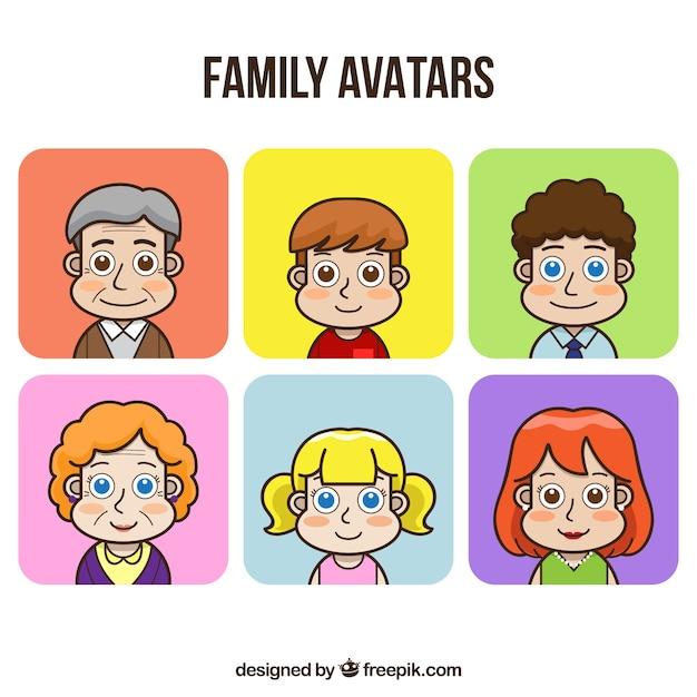 Conjunto desenhado mão de avatares familiares Vetor grátis