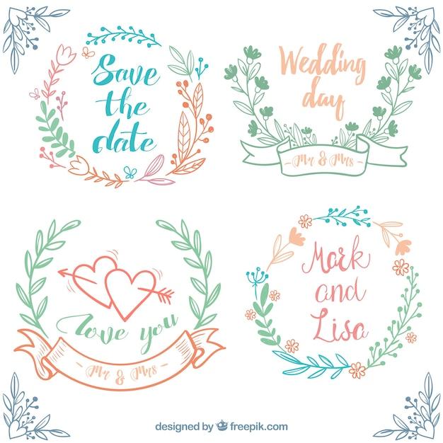conjunto desenhado mão de casamento quadros com decoração floral Vetor grátis