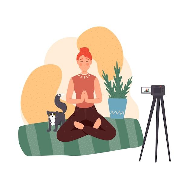 Conjunto do blogger. compartilhe conteúdo na internet. pessoas populares transmitindo online. blog sobre meditação e estilo de vida saudável Vetor Premium