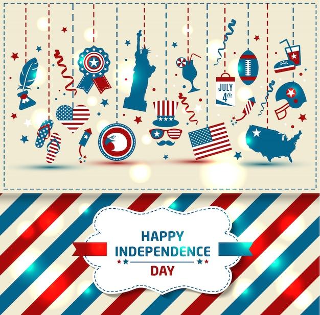 Conjunto do dia da independência da cor. Vetor Premium