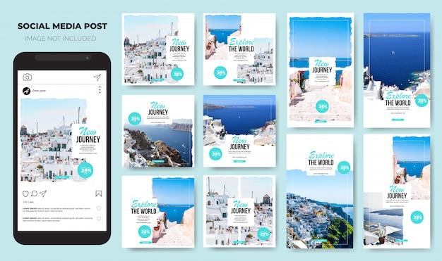 Conjunto do instagram viaje moderno branco minimalista mídia social post feed Vetor Premium