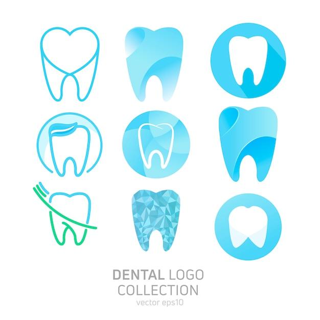 Conjunto do logotipo da clínica dentária Vetor grátis