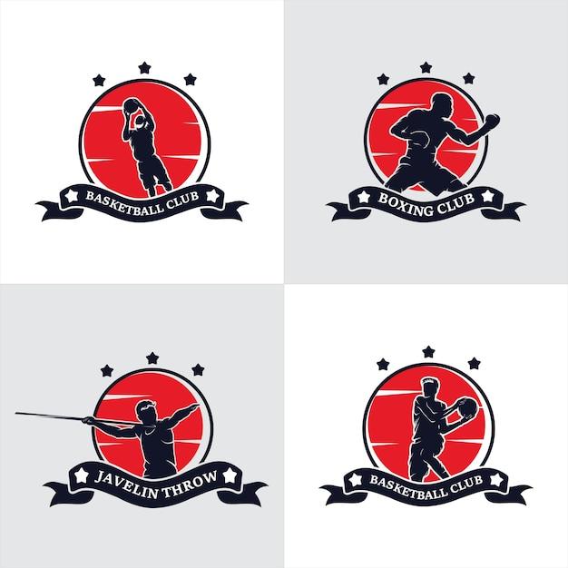 Conjunto do logotipo do clube dos campeões de boxe da academia de luta Vetor Premium