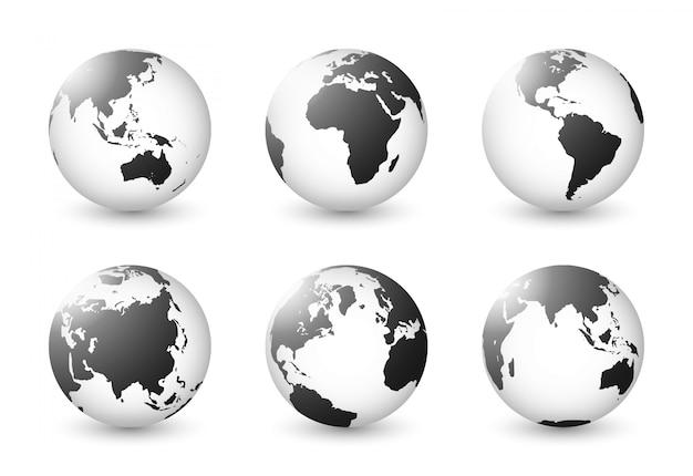 Conjunto do planeta terra. conjunto do globo da terra. mapas do mundo branco preto transparência transparente. Vetor Premium