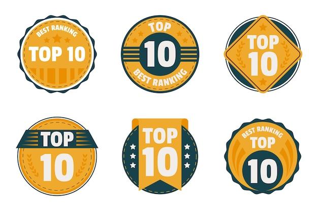 Conjunto dos 10 principais emblemas Vetor grátis
