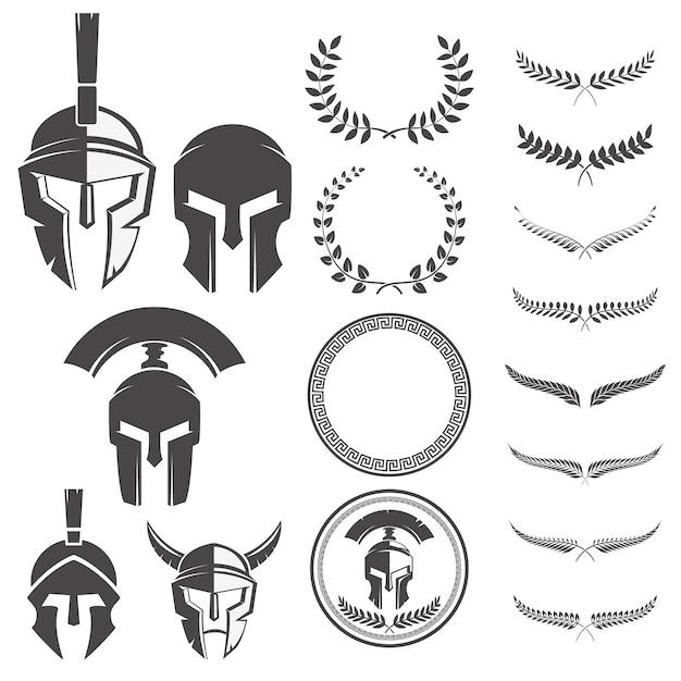 Conjunto dos capacetes de guerreiros espartanos e elementos para emblemas criar. Vetor Premium