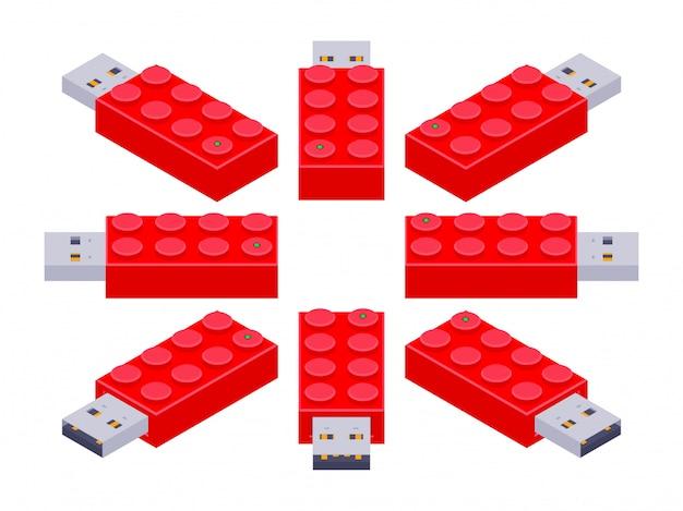 Conjunto dos flash drives usb isométricos em uma forma dos tijolos do construtor Vetor Premium