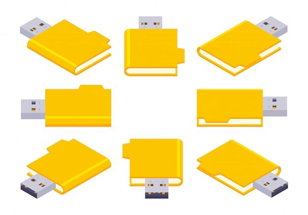 Conjunto dos flash drives usb isométricos Vetor Premium