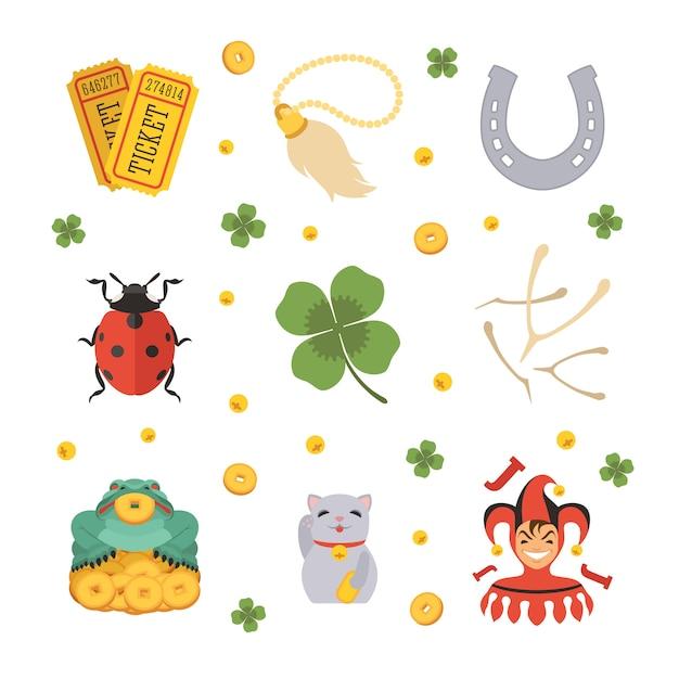 Conjunto dos ícones dos lucky charms Vetor Premium