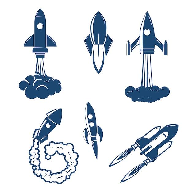 Conjunto dos lançamentos de foguetes Vetor Premium