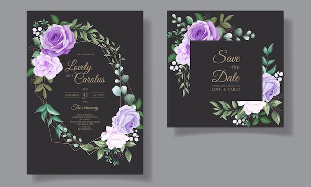 Conjunto elegante de convites de casamento com lindos florais roxos Vetor grátis