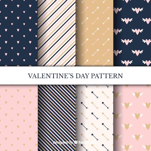 Conjunto elegante de padrões de valentine Vetor grátis