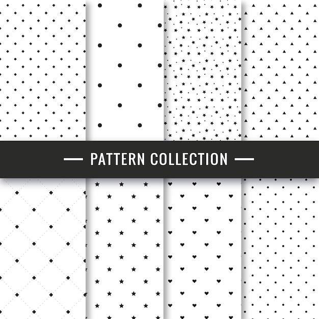 Conjunto elegante padrão preto e branco sem costura Vetor grátis