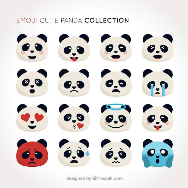 Conjunto emoji de panda bonito em design plano Vetor grátis