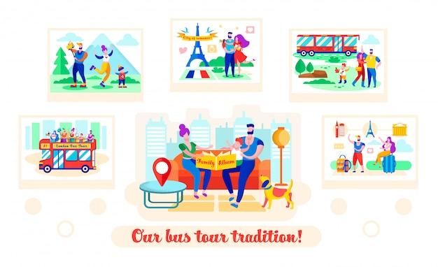 Conjunto escrito nosso ônibus tour tradição cartoon plana. Vetor Premium