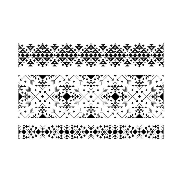 Conjunto étnico ornamental preto em branco Vetor Premium