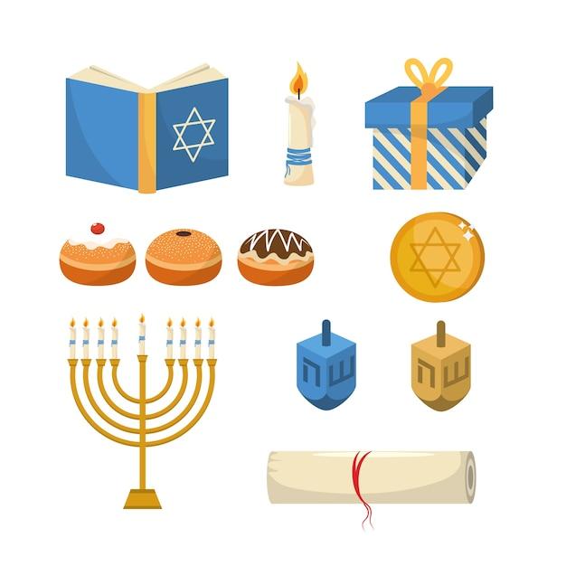 Conjunto feliz hanukkah tradicional celebração Vetor Premium
