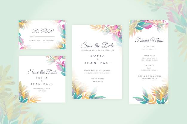 Conjunto floral de artigos de papelaria de casamento Vetor grátis