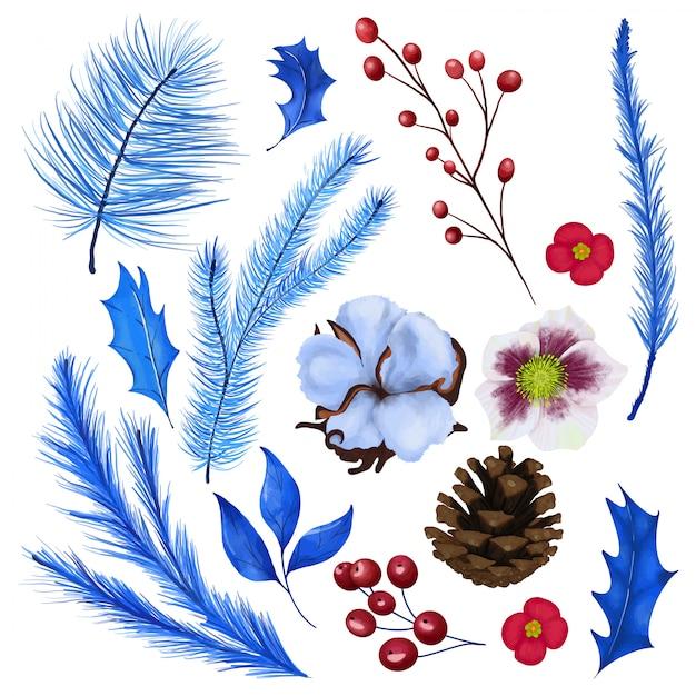 Conjunto floral de natal Vetor Premium