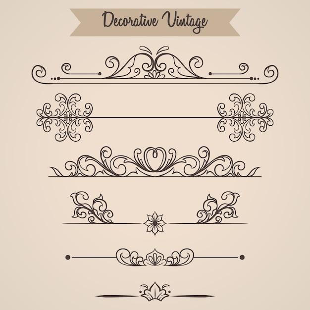 Conjunto floral vintage ornamental filigrana Vetor Premium