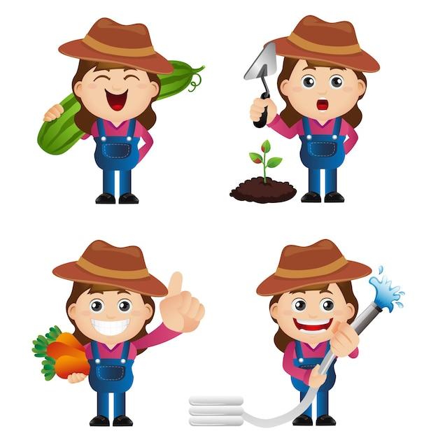 Conjunto fofo - conjunto de jardineiro Vetor Premium