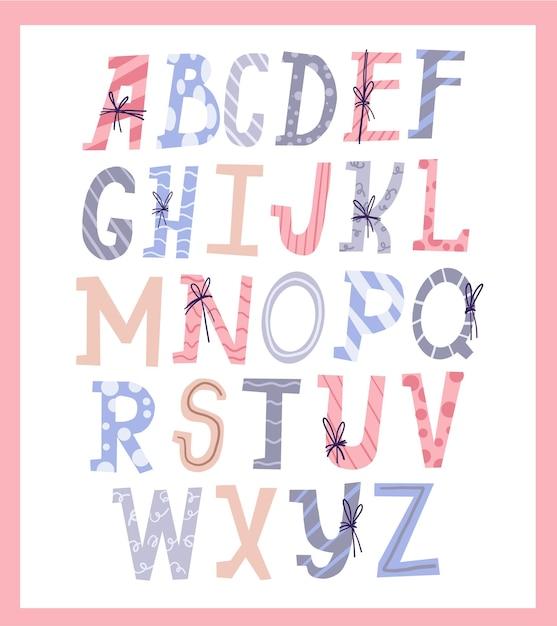 Conjunto fofo de alfabeto letra de presente de natal design de estilo Vetor Premium