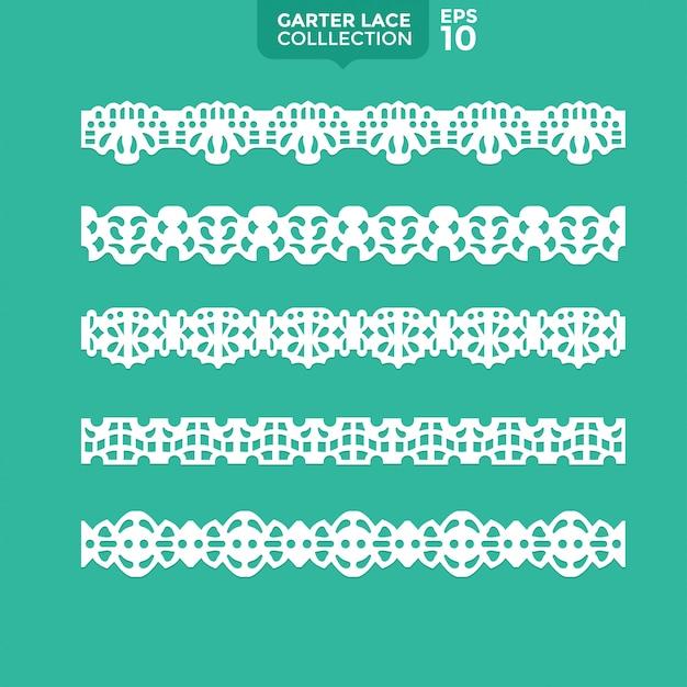 Conjunto garter lace ornament Vetor Premium