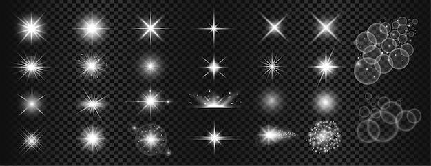 Conjunto grande de brilhos brancos e reflexo de lente Vetor grátis